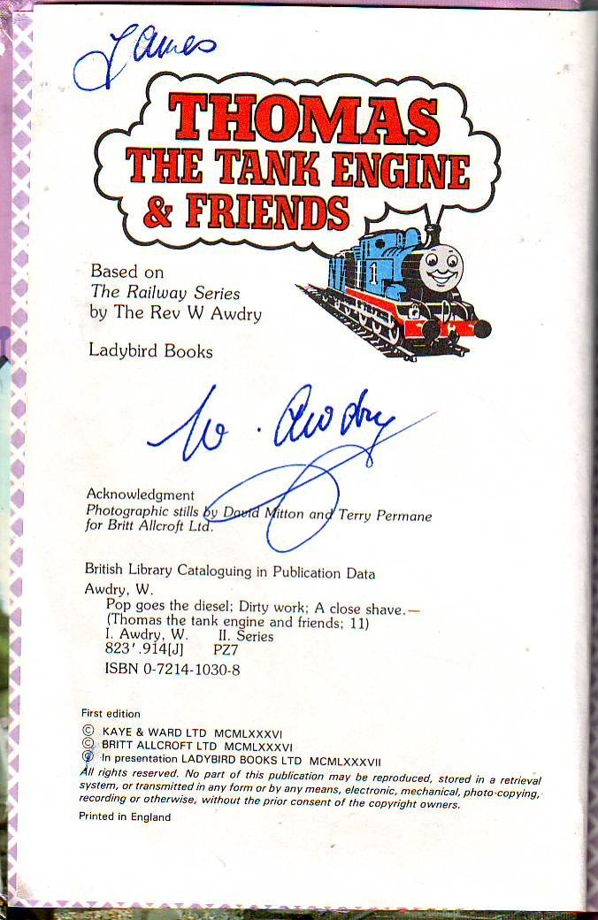 Rev W Awdry signed Thomas the Tank Engine book. An - 2