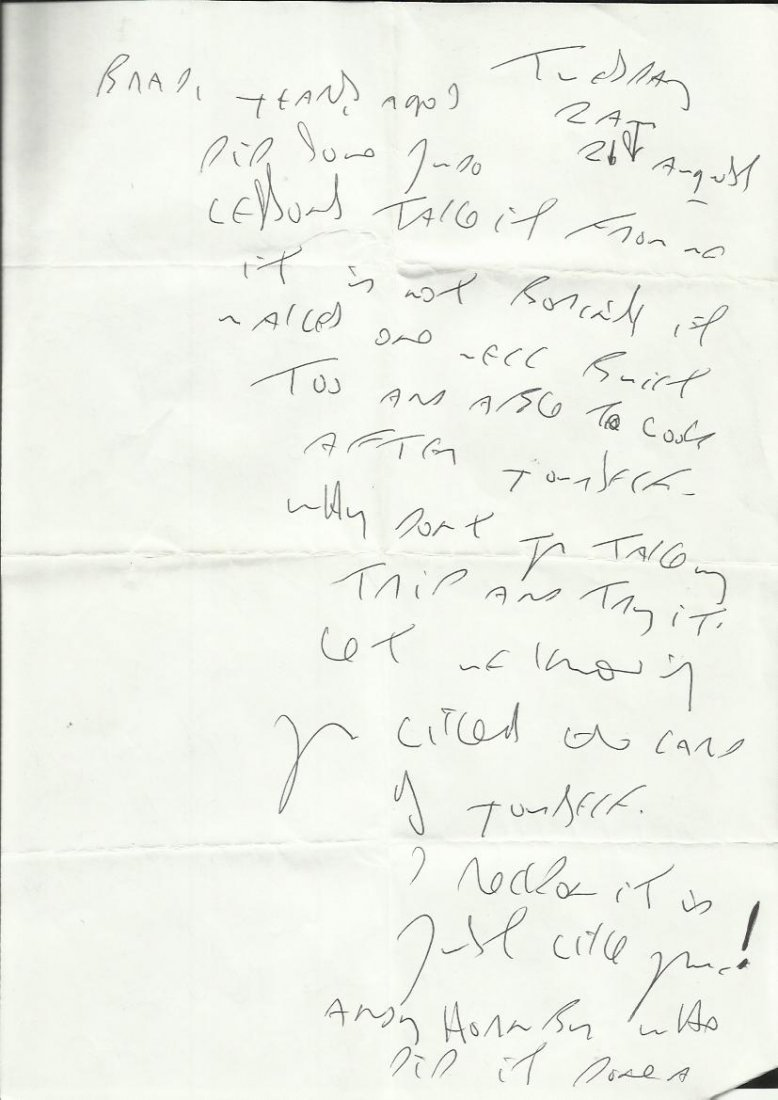 Reggie Kray handwritten four page letter to Brad Lane