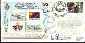 WW2 aces Multisigned 75th ann RAF cover Stampex 1993