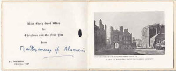 Field Marshall Montgomery of Alamein signed Christmas