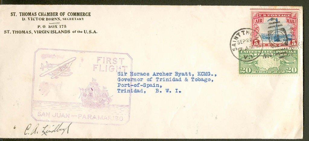 Charles Lindburg signed US Postal cover. A 24cm x
