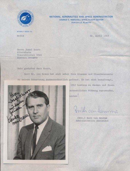 Werner Von Braun signed photo. Hand signed 4x6 glossy