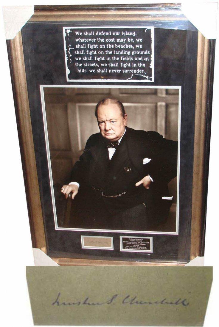 Winston Churchill signed presentation. Vintage card