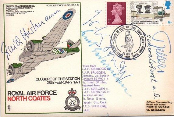 Rare Luftwaffe ace signed RAF North Coates FDC signed
