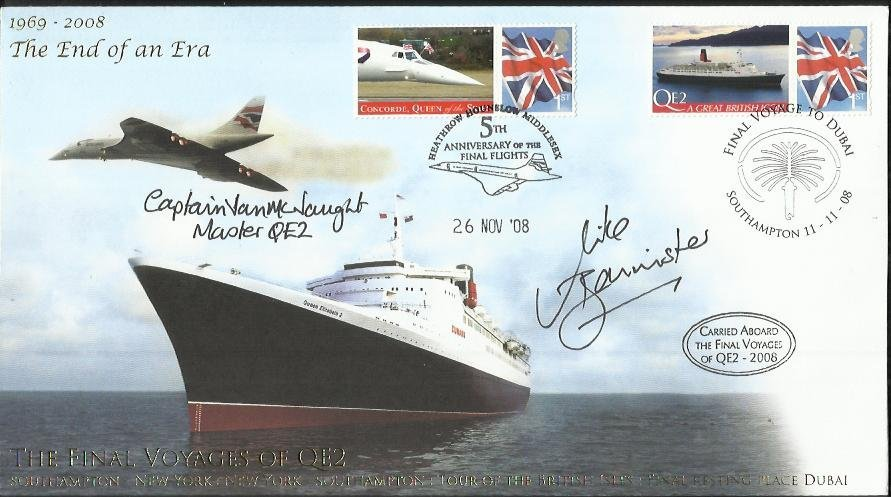 Mike Banister & Capt Warwick QE2 Captain signed