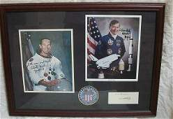 Apollo 16 crew signed presentation. Framed presentation