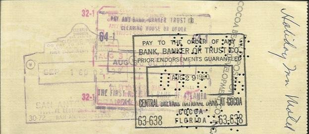 Gus Grissom signed 1960 cheque to the Holiday Inn for - 2