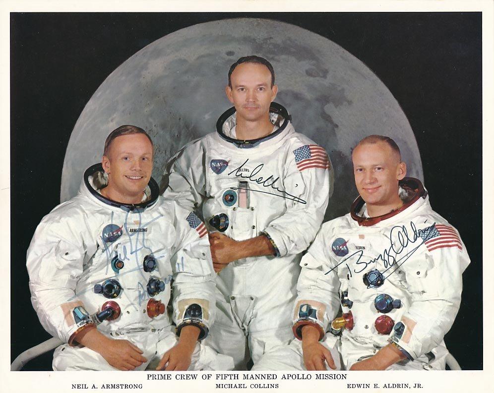 Apollo 11 crew signed NASA 8x10 litho in perfect