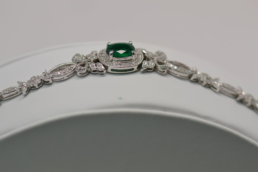 72: Diamond & Emerald Bracelet