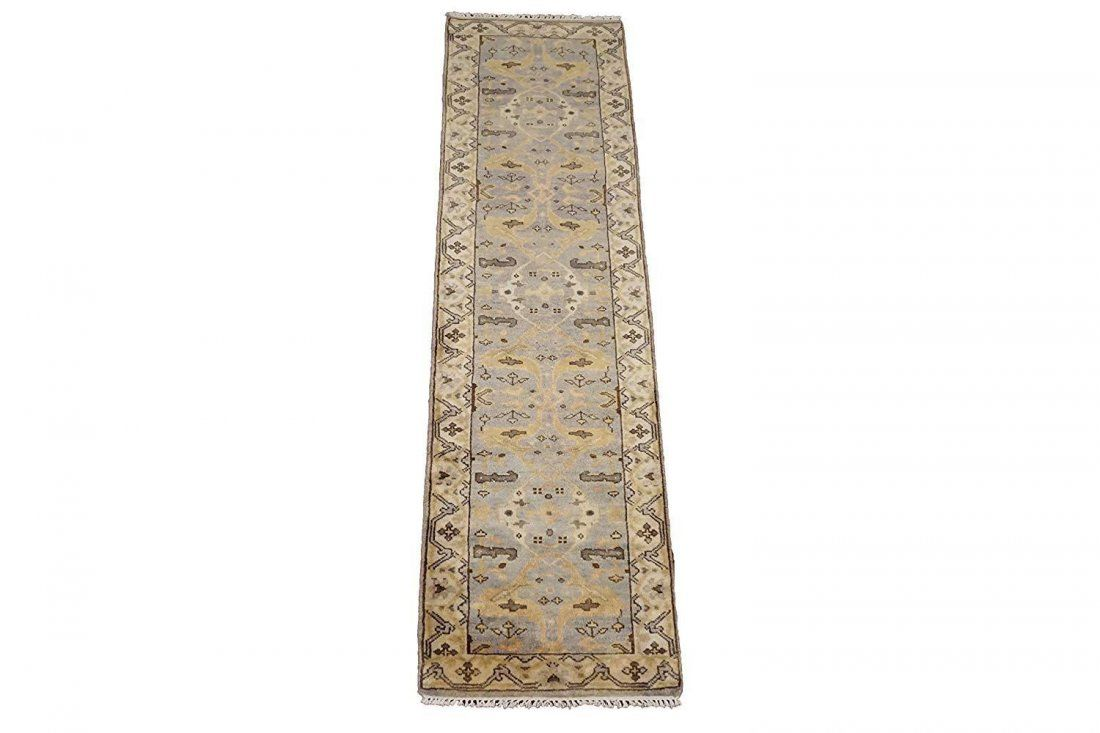 3X10 Vegetable Dyed Oushak Runner Hand-Knotted Wool Rug