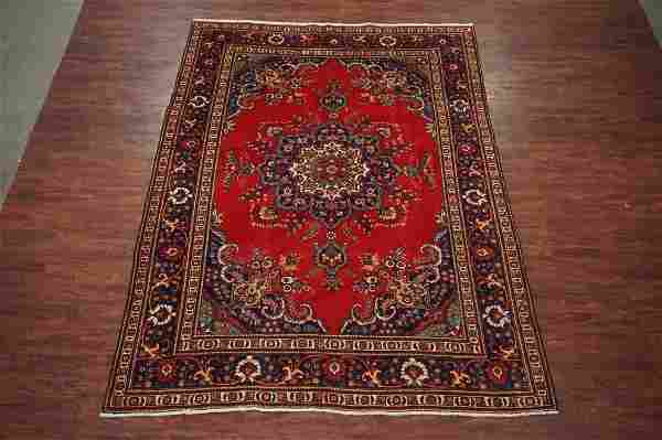8X11 Tabriz Hand-Knotted Wool Area Rug