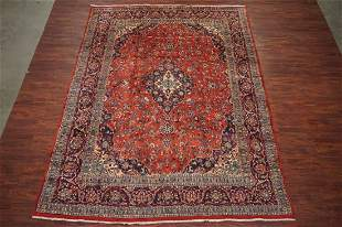 Vintage 10X13 Kashan Hand Knotted Wool Area Rug