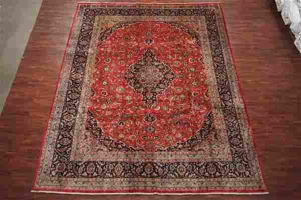 Fine 10X13 Antique Hand-Knotted Abrash Wool Kashan Rug