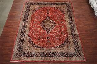 Fine 10X13 Antique HandKnotted Abrash Wool Kashan Rug
