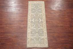 3X8 Vegetable Dyed Oushak Runner Hand-Knotted Wool Rug