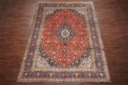 Antique 10X13 Kashan Hand-Knotted Wool Area Rug