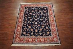 8X10 Navy-Blue Tabriz Hand-Knotted Wool Area Rug