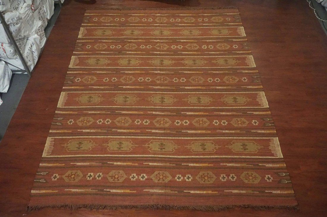 9X12 Jute Kilim Rug Hand-Woven & Vegetable Dyed Carpet