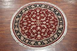 5X5 Round Persian Tabriz Hand-Knotted Wool Area Rug