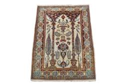 Vintage 4X6 Persian Kashan Area Rug 1970s Hand-Knotted