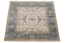 6X6 Square Oushak Area Rug Hand-Knotted & Veg Dyed Wool