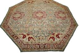 Antique 21X21 Octagon Shaped Indian Agra Area