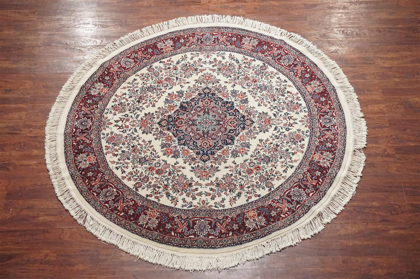Ivory 7X7 Fine Round Area Rug Hand-Knotted Wool Carpet
