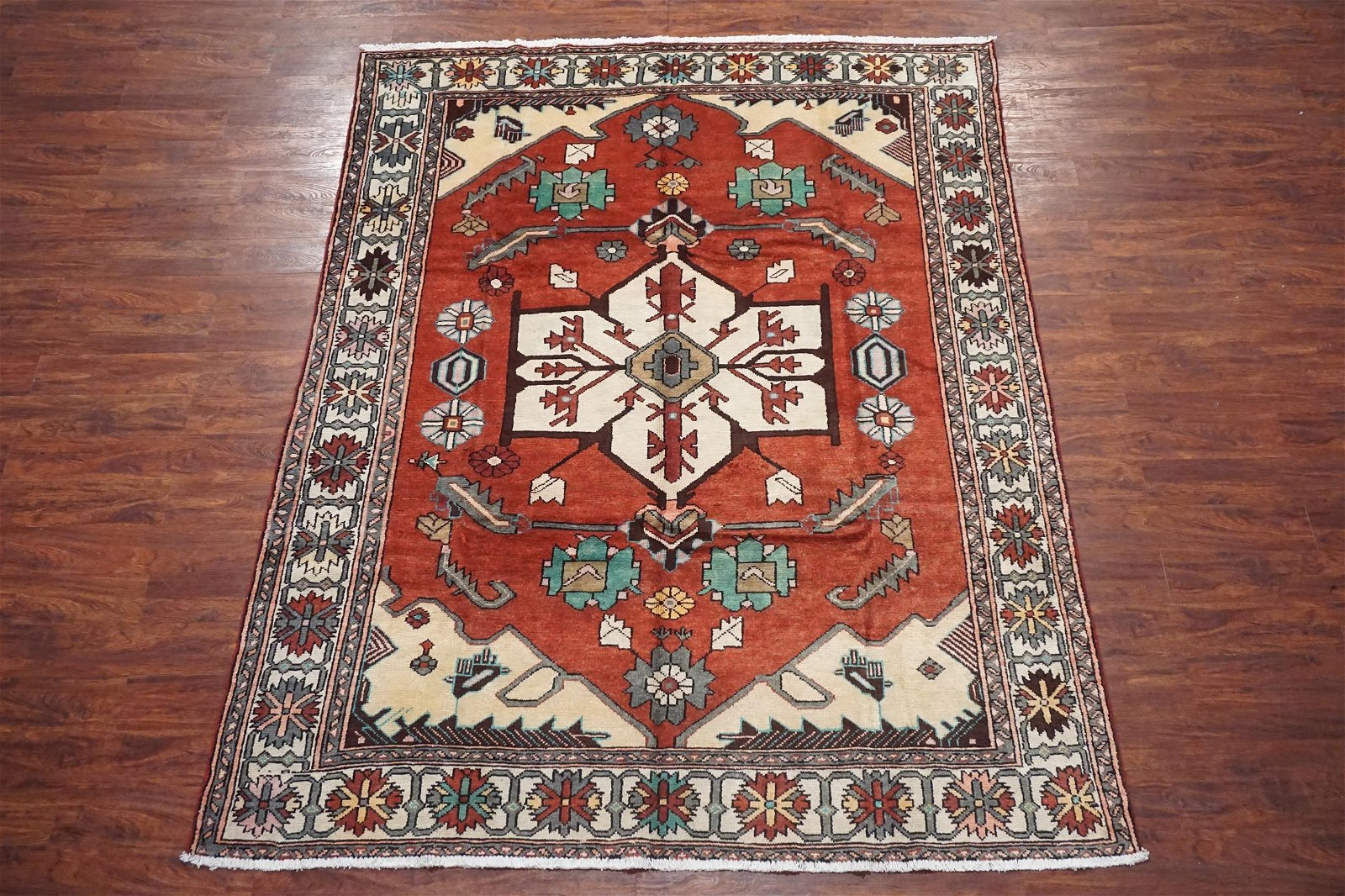 7X9 Antique Persian Serapi Hand-Knotted Wool Rug, circa