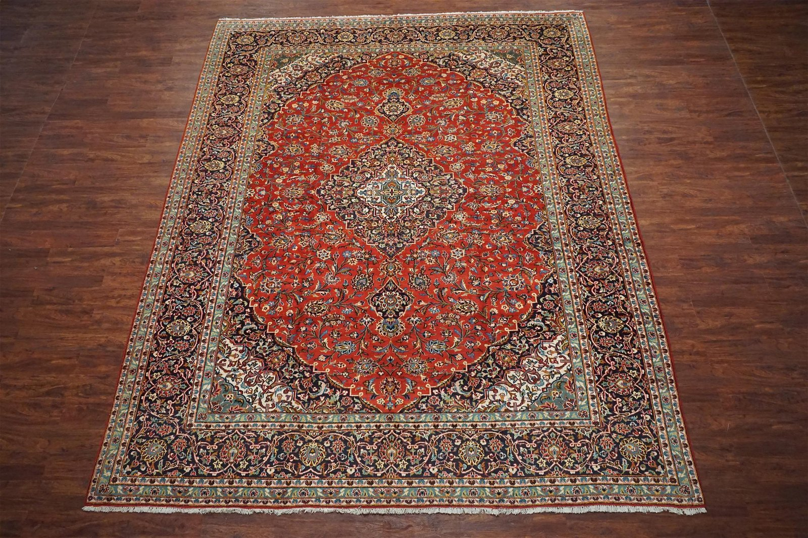 Antique 11X14 Persian Kashan Hand-Knotted Wool Rug