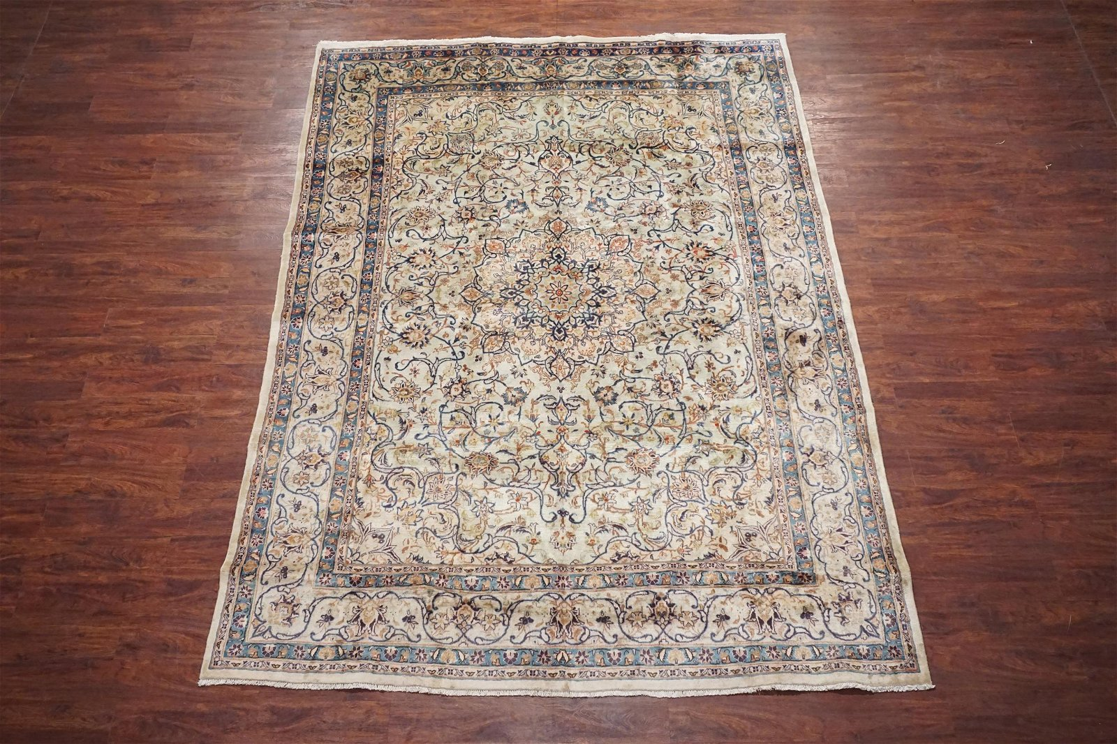 8X11 Antique Persian Kashan Hand-Knotted Wool Rug 1940s