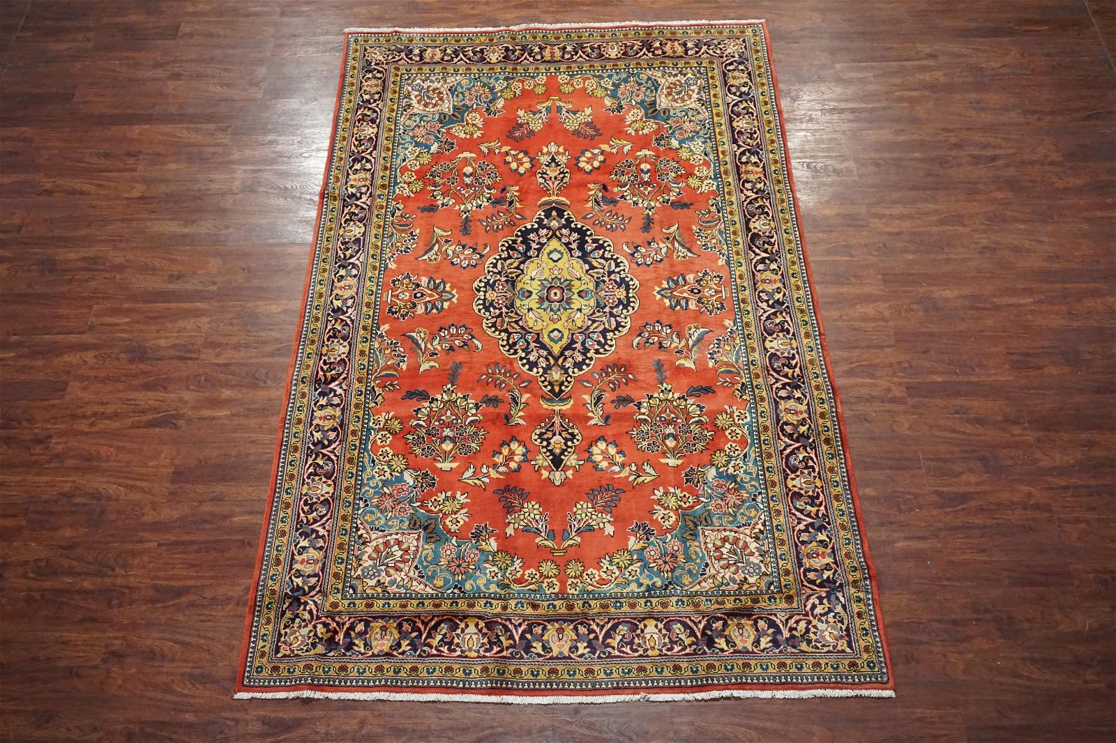 Antique 7X11 Persian Sarouk Hand-Knotted Wool Area Rug