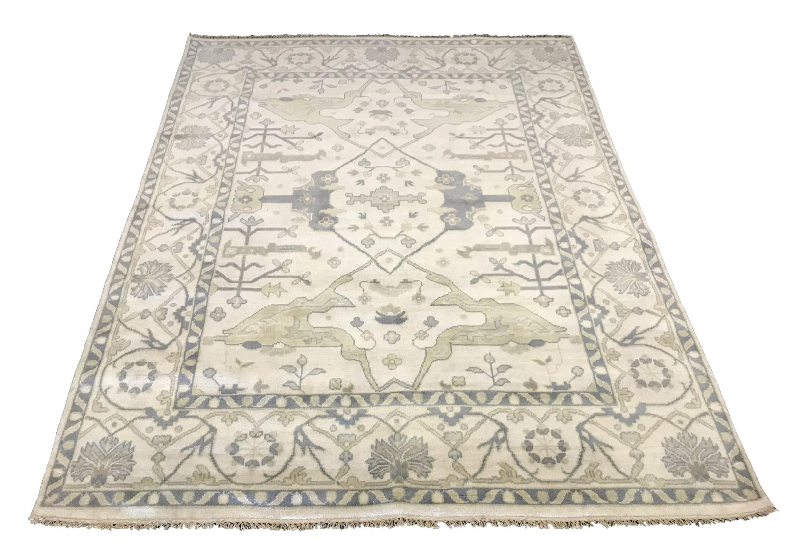 8X10 Oushak Area Rug Ivory Hand-Knotted Wool Oriental