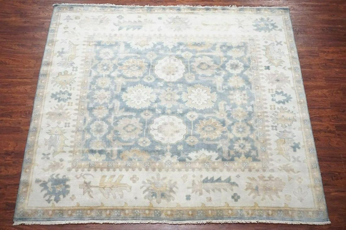 Blue 8X8 Square Oushak Rug Hand-Knotted & Veg Dyed Wool