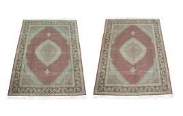 Pair 8X11 Wool & Silk Mahi Rugs Hand-Knotted 400 KPSI