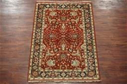4X6 Mahal Hand-Knotted & Veg Dyed Wool Area Rug