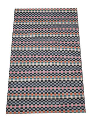 6X9 Modern Multicolor Checkered Rug HandKnotted Wool