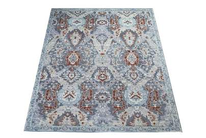 8X10 Agra Hand-Knotted Wool Oriental Carpet Gray Area