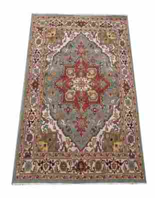 9X12 Blue Serapi Area Rug Hand-Knotted Wool Carpet