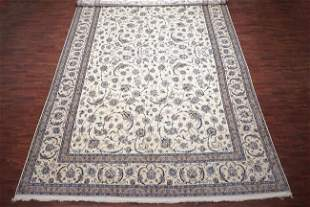 13X19 Persian Wool & Silk Naein Hand-Knotted Rug