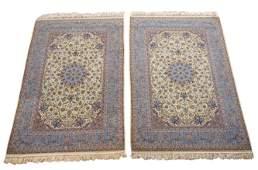 Pair 5X8 Persian Fine Wool & Silk Isfahan Rugs 400 KPSI