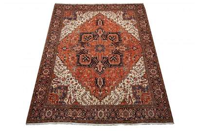 Persian 10X13 Antique Serapi Hand-Knotted Rug
