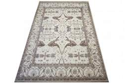 12X18 Ivory Oushak Hand-Knotted Wool Area Rug
