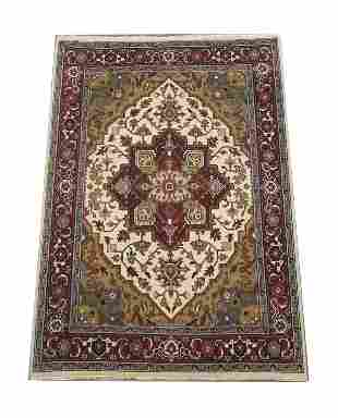8X12 Ivory Serapi Area Rug Hand-Knotted Wool Carpet