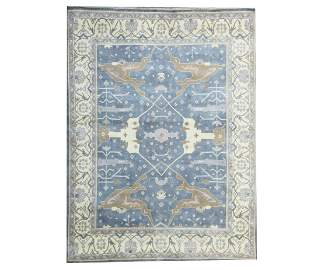 12X15 Blue Oushak Area Rug Hand-Knotted Carpet