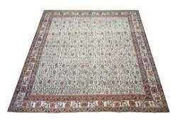 14X14 Antique Square Cotton Agra Rug, Circa 1900