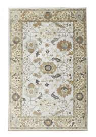 12X18 Silver Hand-Knotted Oushak Area Rug