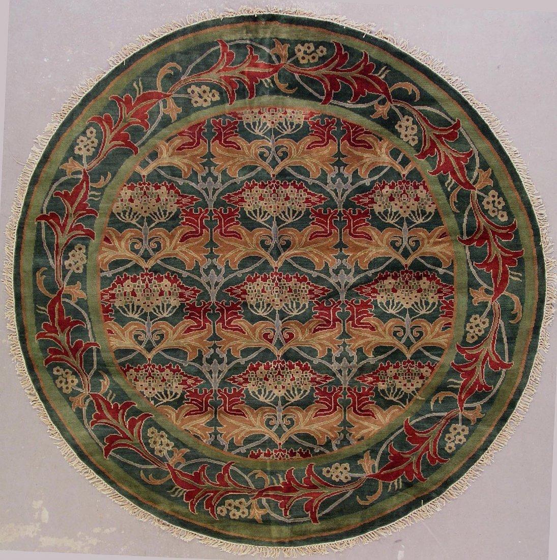 102: 14x14 ROUND SIGNED WILLIAM MORRIS ART & CRAFT RUG