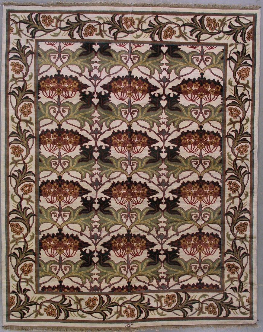 107: 8x10 SIGNED WILLIAM MORRIS ART & CRAFT AREA RUG