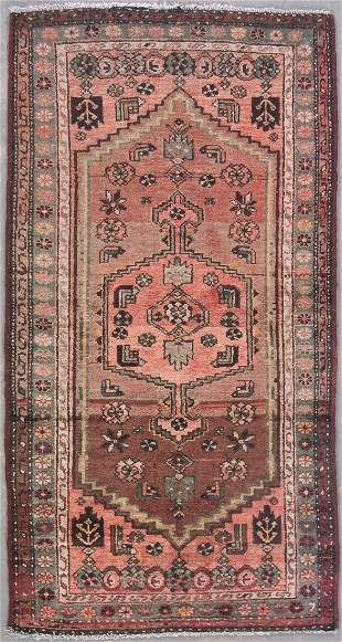 6' ANTIQUE PERSIAN MALAYER RUNNER RUG WITH ABRASH