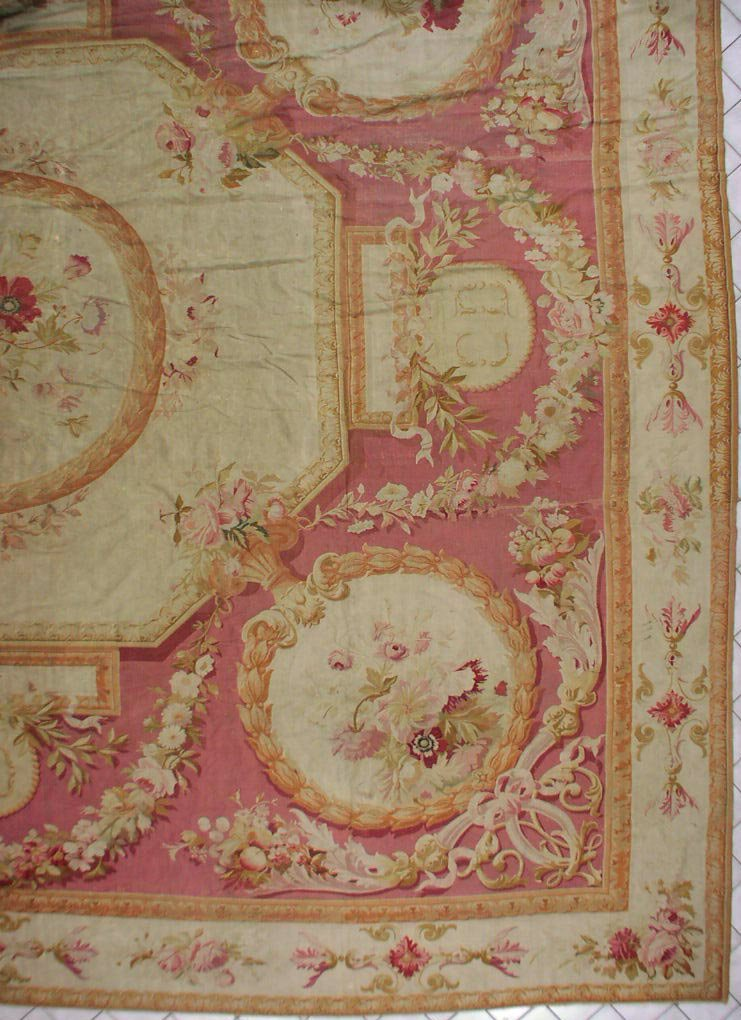 144: 19x22 SIGNED ANTIQUE 1890S FRENCH AUBUSSON RUG